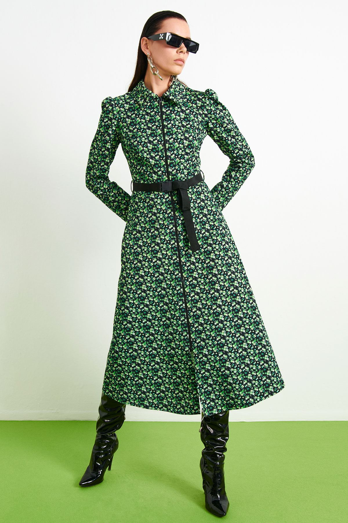 Neon Çiçek Desenli Elbise Fıstık Yeşili