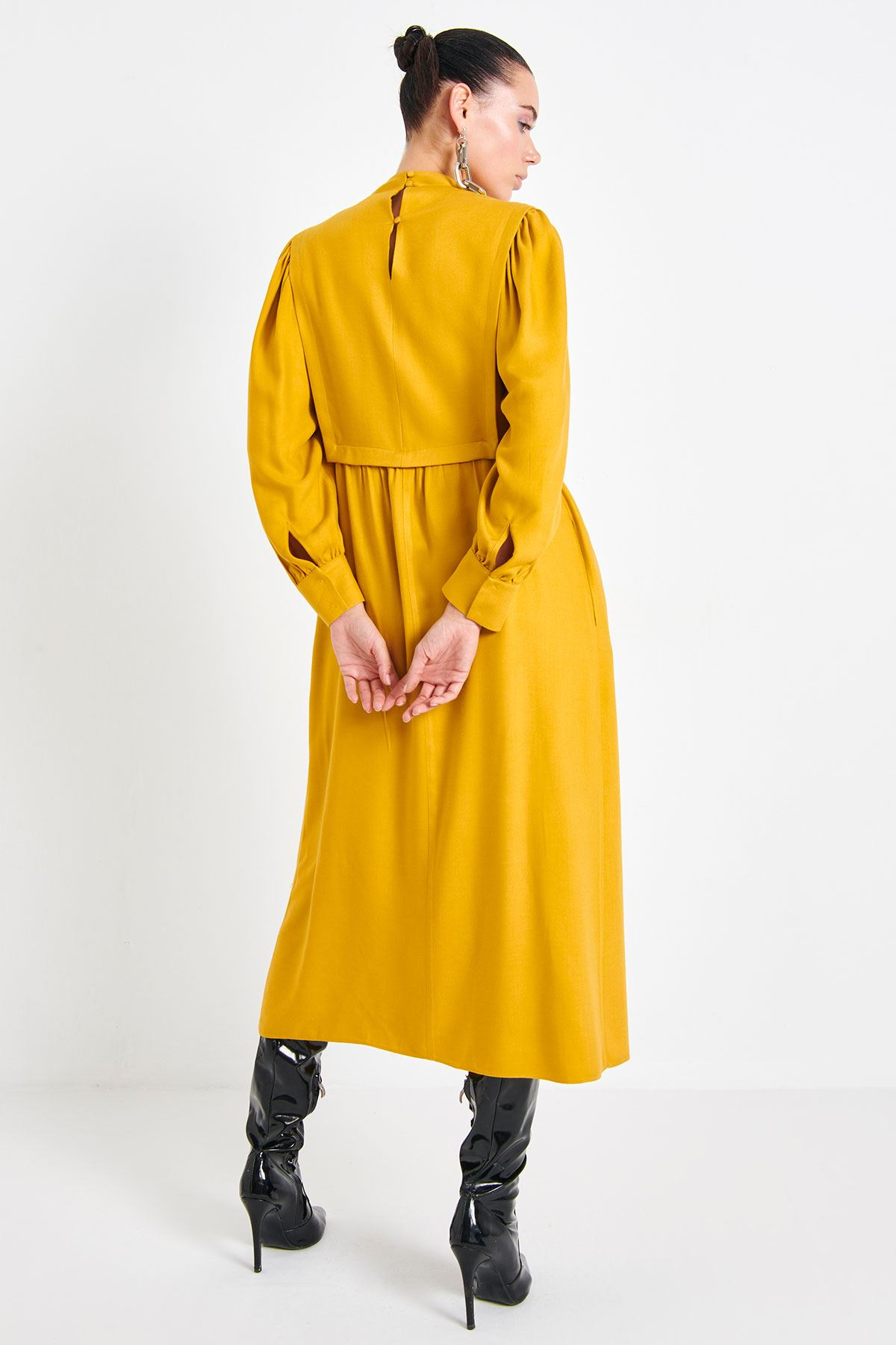 Aller Detaylı Elbise Safran